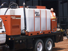 The Ditch Witch fluid management products are stand-alone, modular fluid systems for efficiently mixing drilling fluid additives with water and delivering the slurry to horizontal directional drilling units for drilling, backreaming, and product pullback